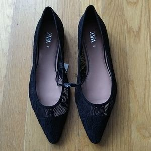 Zara Black Lace Pointy Flats Size 40